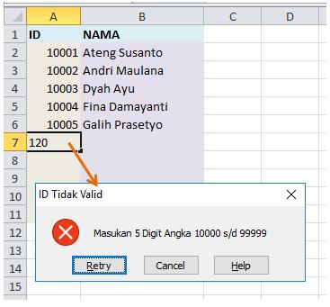 data validation invalid input allert