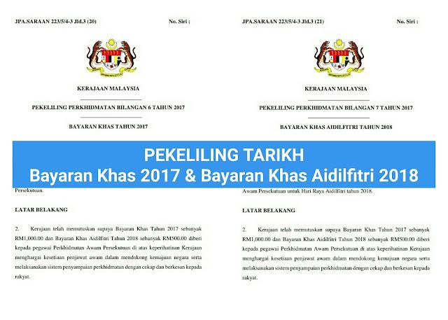Tarikh Bayaran Khas Dan Bayaran Khas Aidilfitri 2018 Untuk Penjawat Awam