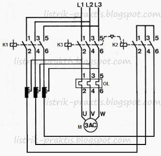 Diagram daya pengasutan motor 3 phasa dengan auto trafo