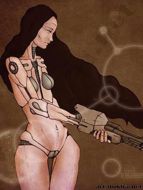 Фембот (гиноид) с оружием