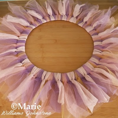 Pink, lavender, purple and gold color fabric wreath