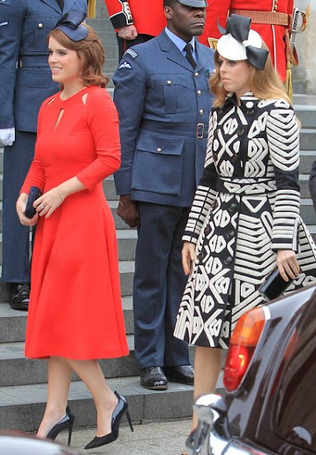 Prince William, Duke of Cambridge, Catherine, Duchess of Cambridge, Prince Harry, Sophie, Countess of Wessexi Kate Middleton wears Catherine Walker 'Rosa' coat dress, Countess Sophie Suzannah Dress