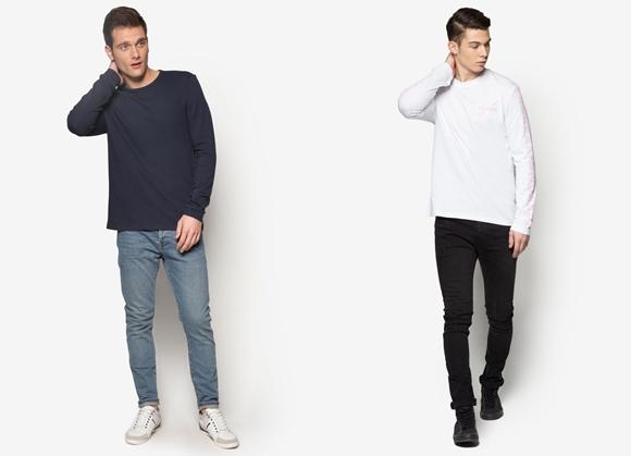 Baju Lelaki Long Sleeve T-Shirt Jenama Topman
