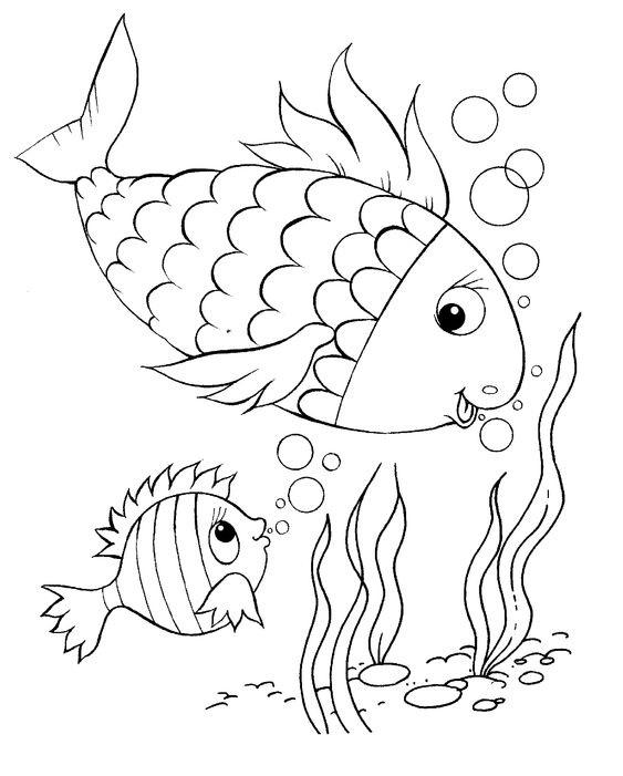 Tranh tô màu hai mẹ con cá