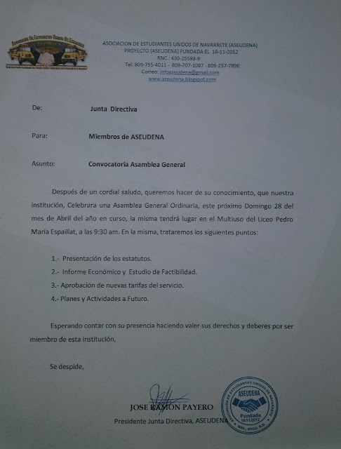 COMUNICADO DE ASEUDENA A SUS MIEMBROS.