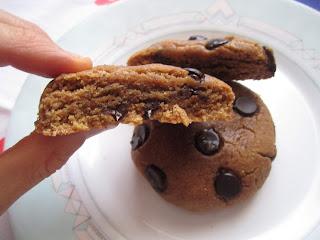 Intérieur du cookie au beurre de cacahuètes et pépites de chocolat, Dakatine