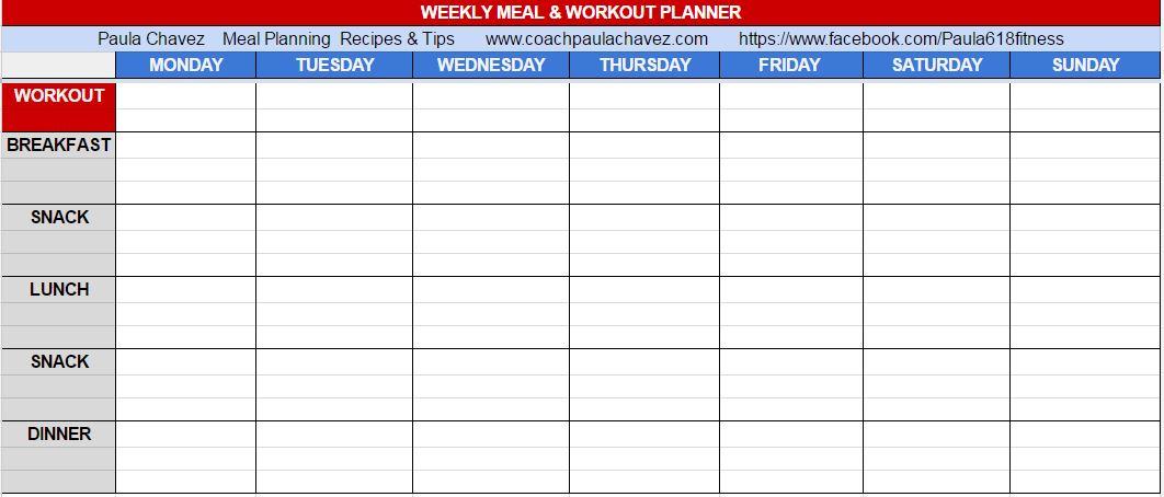 MEAL PLANNER BLANK TEMPLATE- PRINTABLE - menu planner template printable