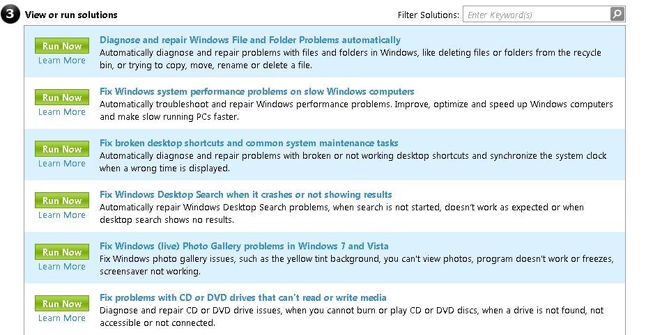 BAMLEO: Microsoft Windows Fix it Center