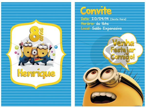 Convites Festinha Minions