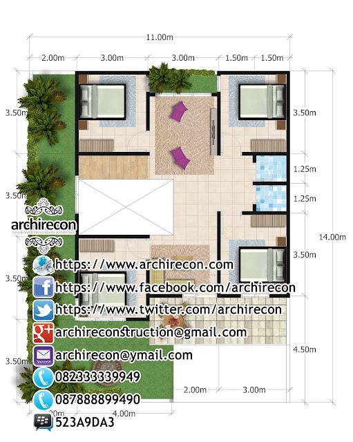 Perencanaan Rumah 2 Lantai di Lahan Hook - Gambar Denah Lantai 2