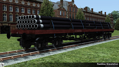 Fastline Simulation: An early built BDA to design code BD006C is seen in faded freight brown livery with a load of pipes.