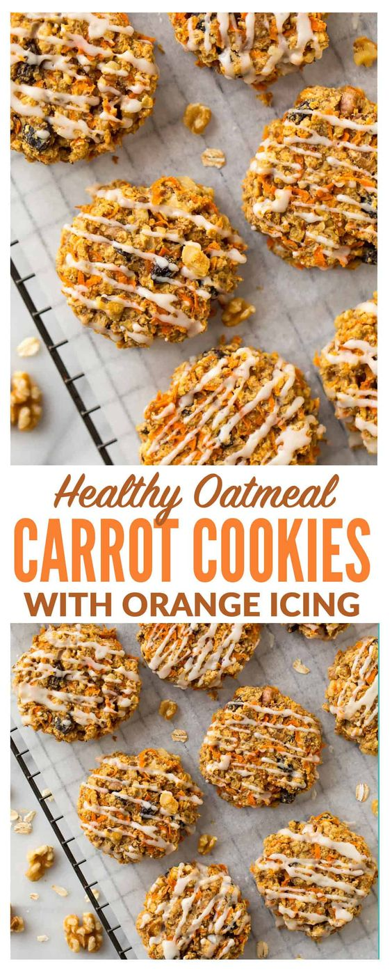 Healthy Carrot Cookies with Orange Icing. These soft and chewy cookies are FLOURLESS, vegan, gluten free, and naturally sweetened! Super easy recipe with oatmeal, cinnamon, and any of your other favorite carrot cake mix-ins. Simple, kid friendly and good enough to eat for breakfast! #carrotcookies #healthy #vegan #glutenfree
