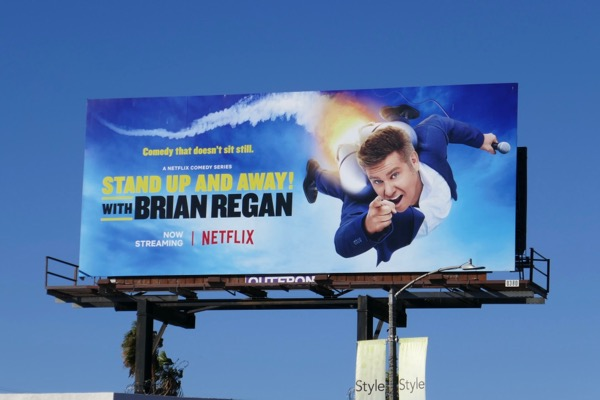 Brian Regan Stand up and away billboard