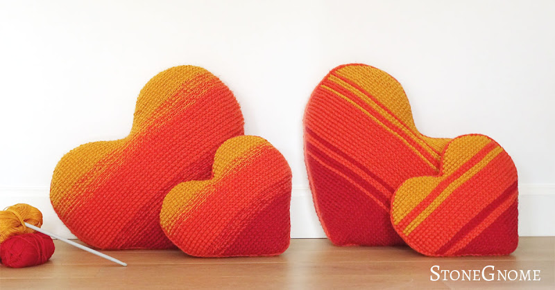 Heart on Fire Tunisian crochet pillow pattern - two sizes
