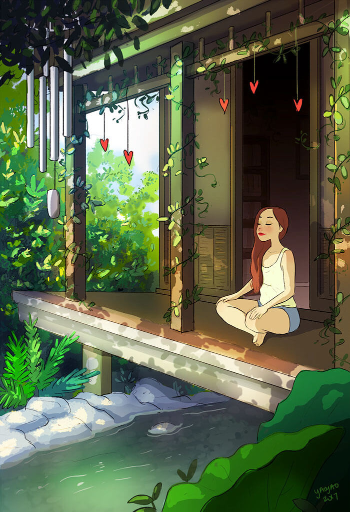 20 Beautiful Illustrations That Show What's Like To Live Alone - Meditating Without Distractions