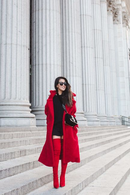 Wendys Lookbook Red Long Coat Over Knee Red Suede Boots