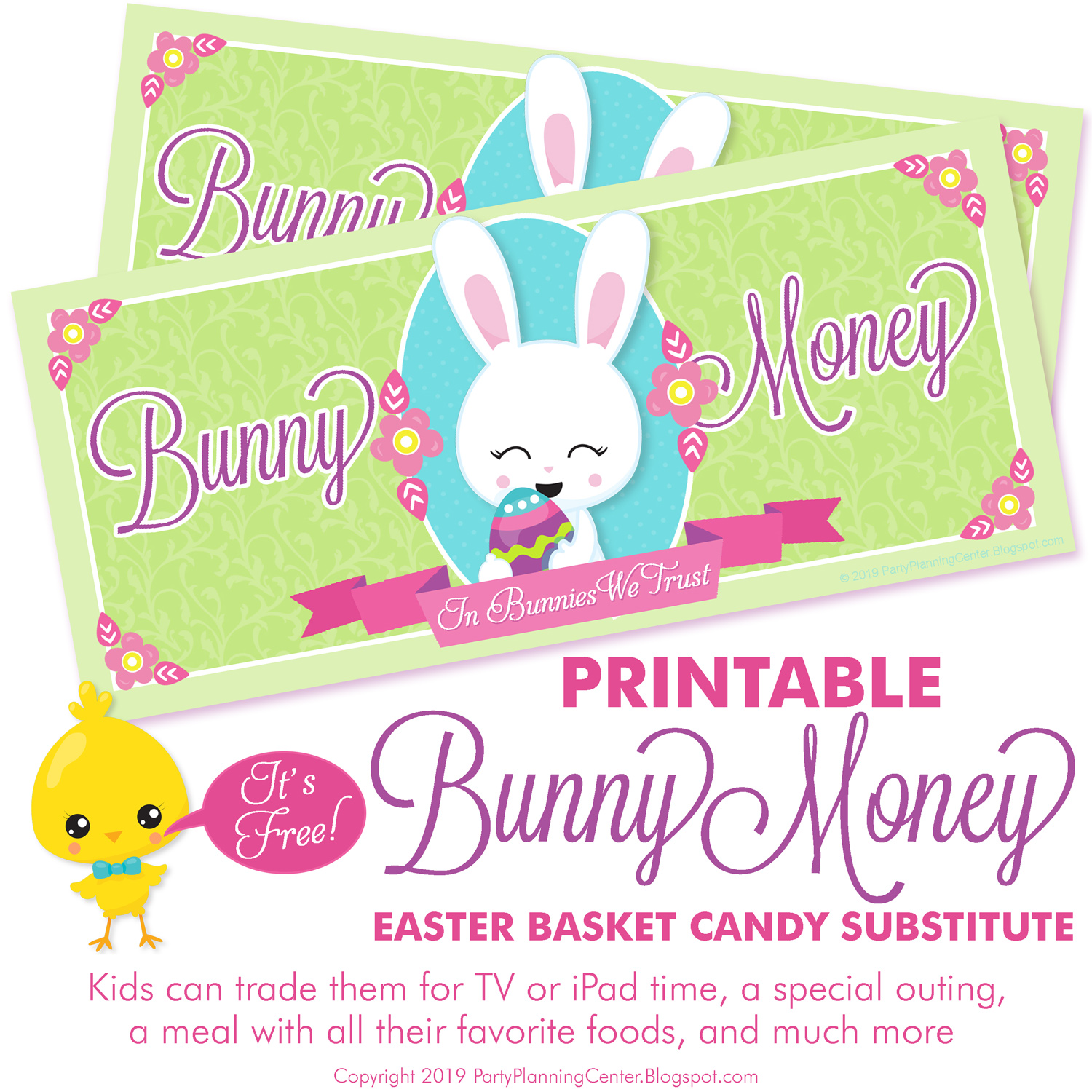 free printable Easter Bunny Money