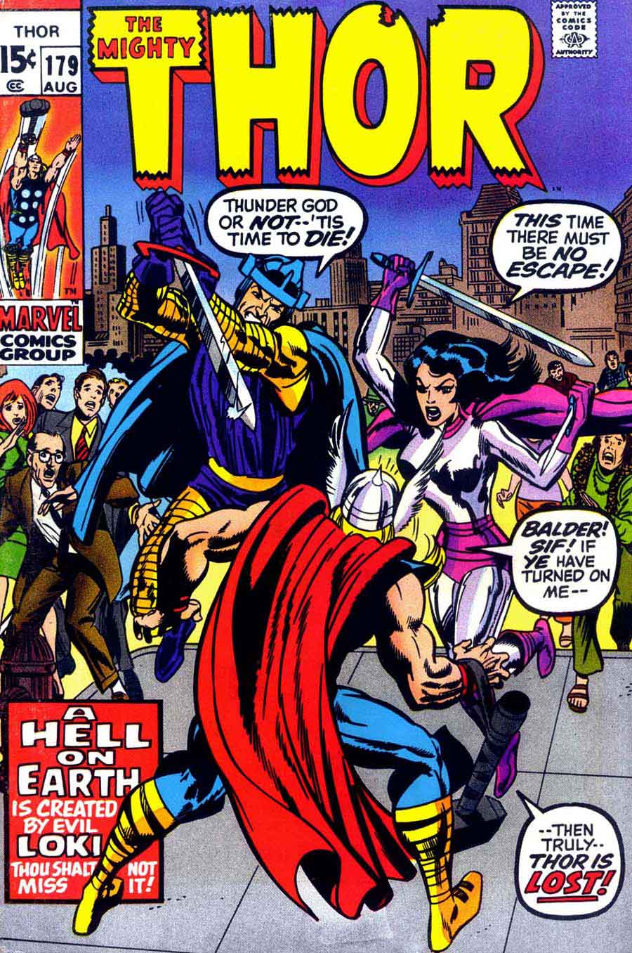 Thor v1 #179 marvel comic book cover art by Neal Adams
