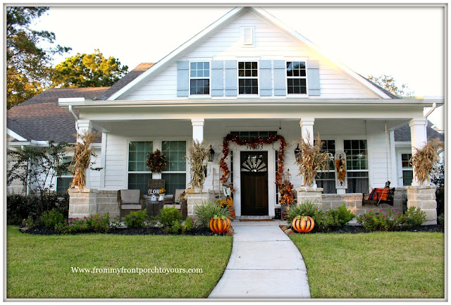 Fall Porch Decorations-Famrhouse Style House- Corn Stalks on Columns-Grapevine Garland with Lights-From My Front Porch To yours