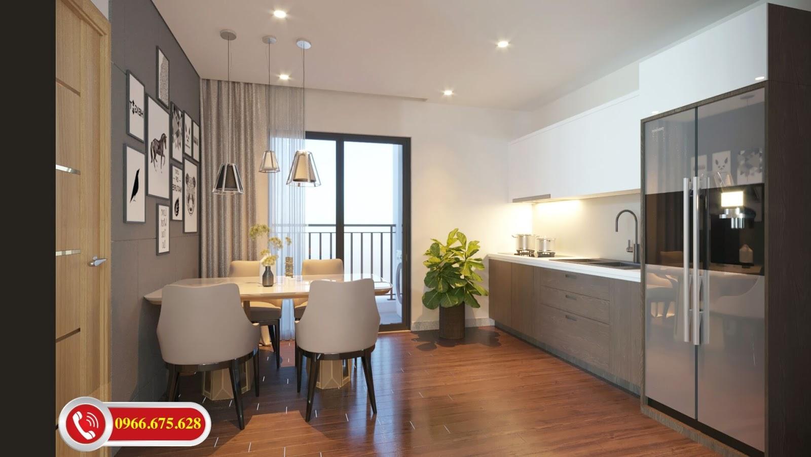 Phòng ăn căn hộ 3 ngủ chung cư 622 Minh Khai
