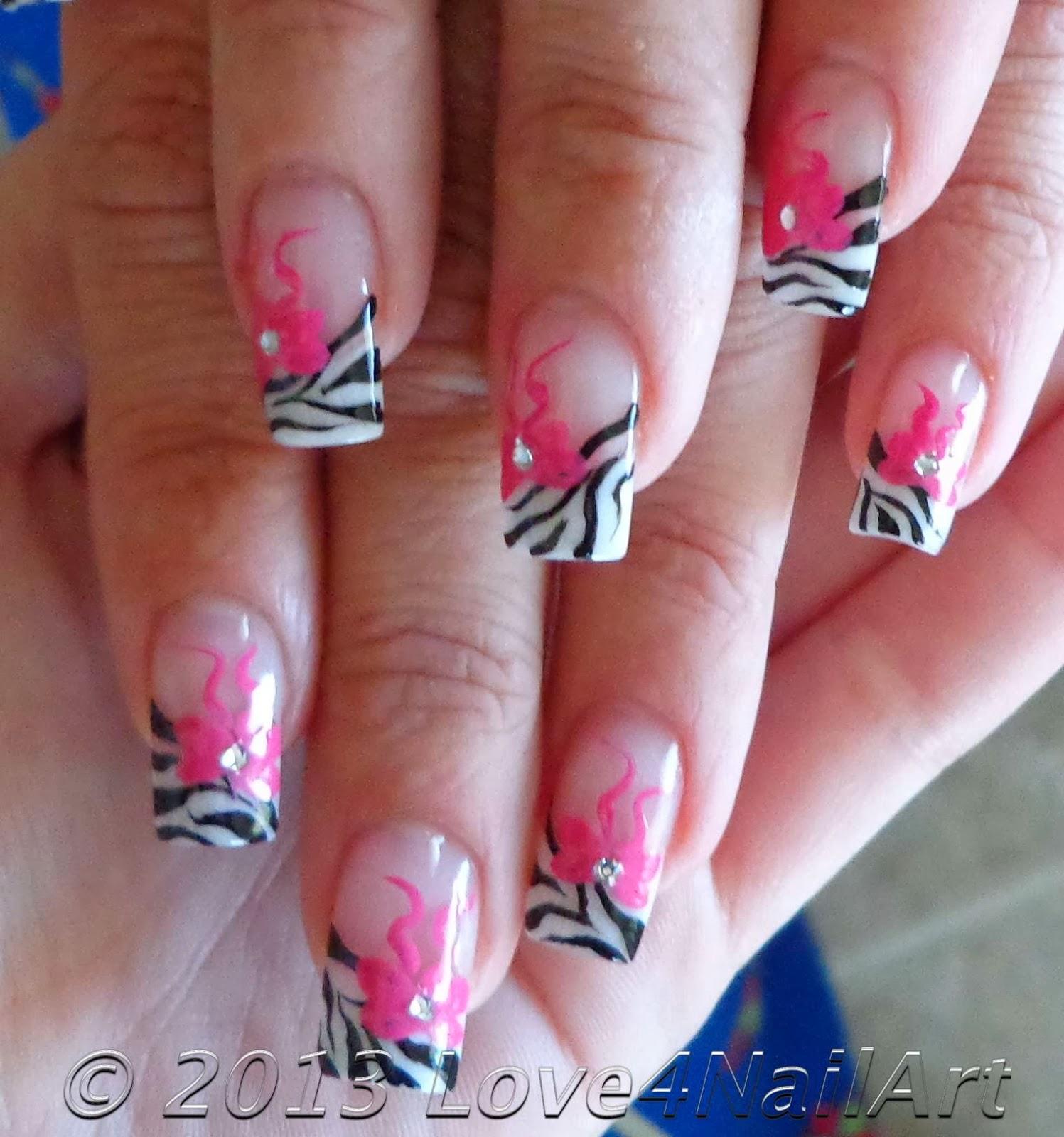 Zebra Nail Ideas: Love4NailArt: Zebra Nail Art With Pink Bows