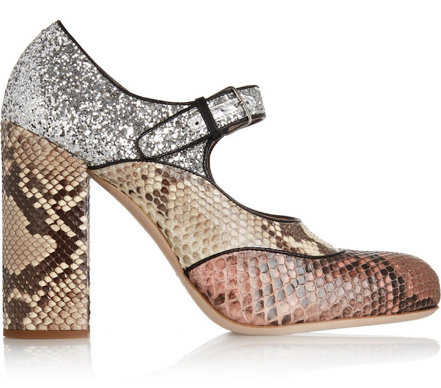 Miu Miu glitter-finished python Mary Jane pumps