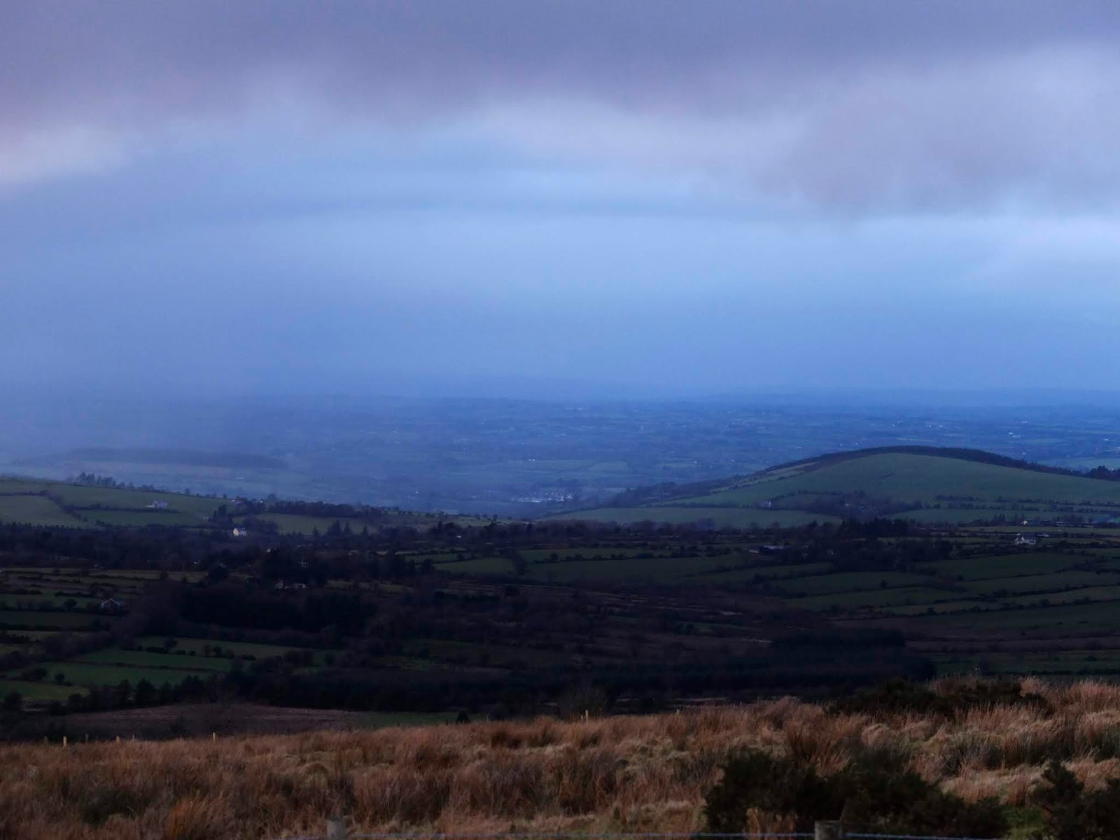 A sheet of rain in a valley in the Boggeragh Mountains in North Cork.