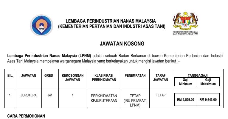Jawatan Kosong di Lembaga Perindustrian Nanas Malaysia LPNM