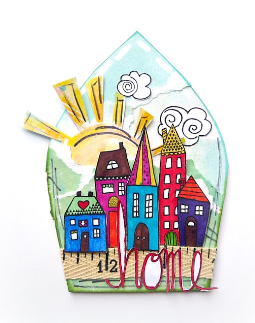 Colorfully Stamped and Layered Tumbelweed Houses Arch