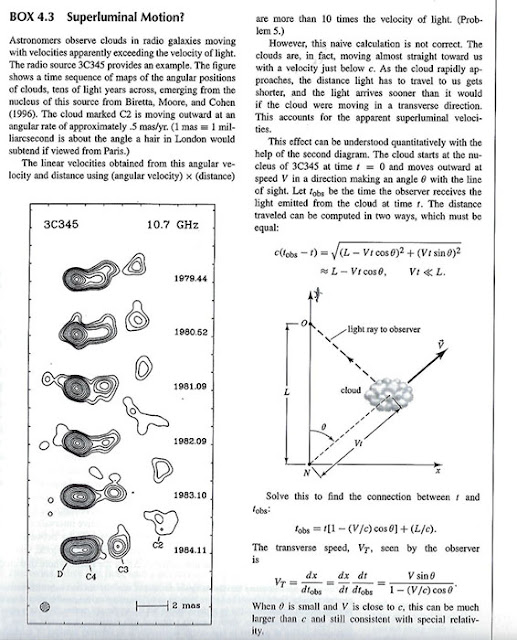 "Measurement of ""superluminal motion"" explained (Source: Hartle, ""Gravity, An Intro to Einstein's GR"")"