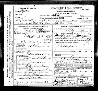 Death certificate of Martha Jane Horton, Knoxville, Tennessee, 1926