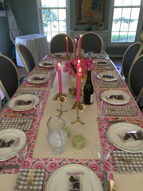 Venture & Roam: Easter Brunch dining table, pink dining table setting, chocolate bunnies, pink table setting