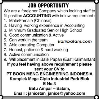 Lowongan Kerja PT. Boon Meng Engineering Indonesia