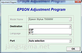 Download Resetter Epson TX550W