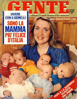 Rosanna Gemelli and her babies featured on  the cover of Gente magazine each year