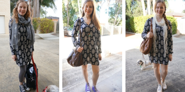 navy printed tunic dress and converse worn 3 ways | away from the blue