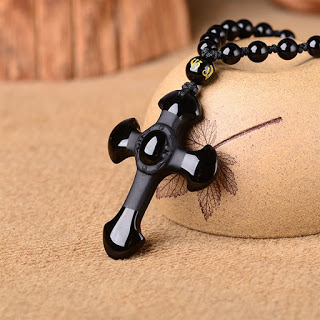 Black Obsidian Stone Cross Necklace