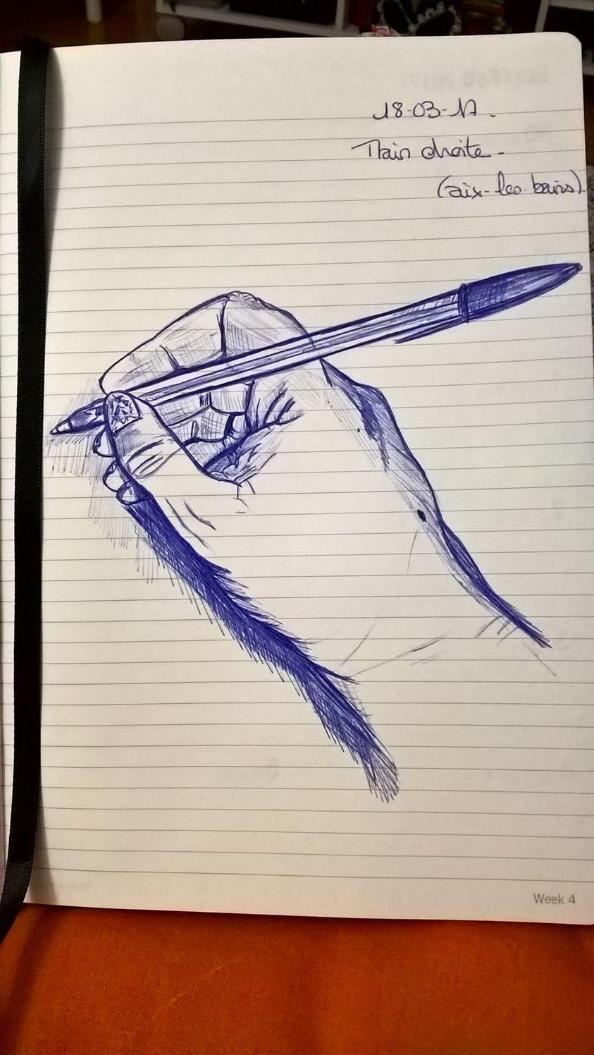 Armonyann dessin au stylo bic et crayon de couleur - Main dessin crayon ...
