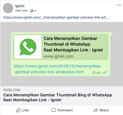 Cara Menampilkan Gambar Thumbnail Blog di WhatsApp