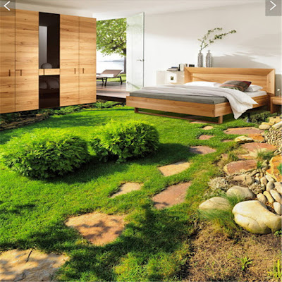 custom 3d natural looking flooring artwork in tiles with murals with beautiful plants and stones