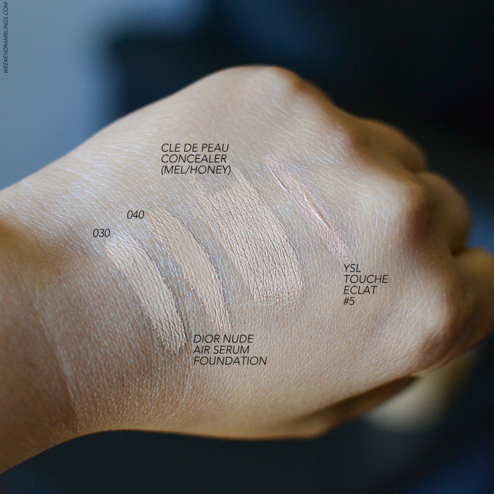 Makeup Swatches - Diorskin Nude Air Serum Foundation 030 040 Cle de Peau Concealer Mel Honey YSL Touche Eclat 5