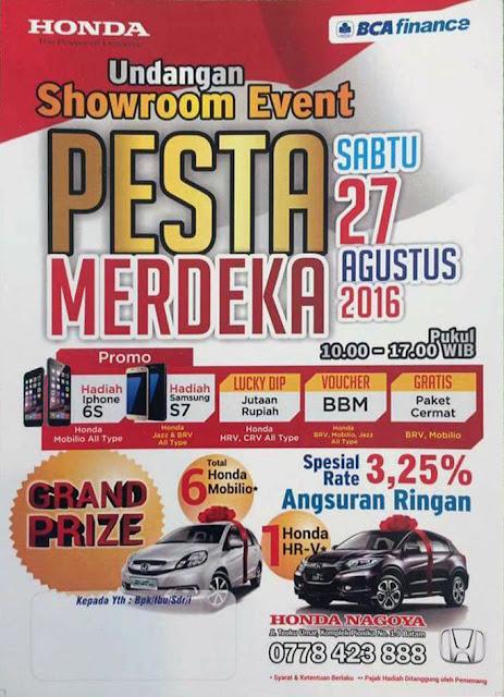 Showroom Event Honda Nagoya 27 Agust, Big Promo dan Grand Prize Mobil Honda