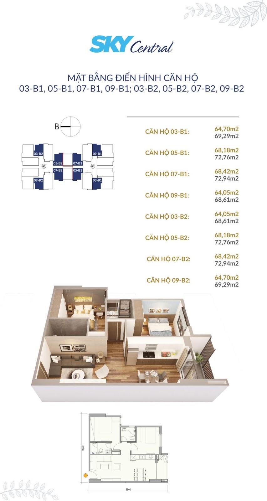 Mặt bằng thiết kế điển hình các căn hộ 2 ngủ tòa B