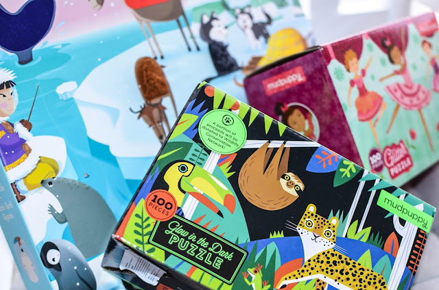 ciekawe puzzle dla dzieci, zalety puzzli, puzzle a rozwój dziecka, puzzle na prezent, puzzle świecące w ciemnościach, puzzle sensoryczne, puzzle z brokatem, janod, mudpuppy
