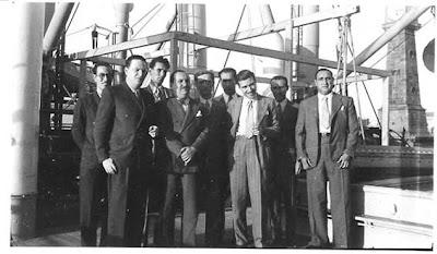 Ajedrecistas españoles y argentinos en el Puerto de Barcelona en 1935