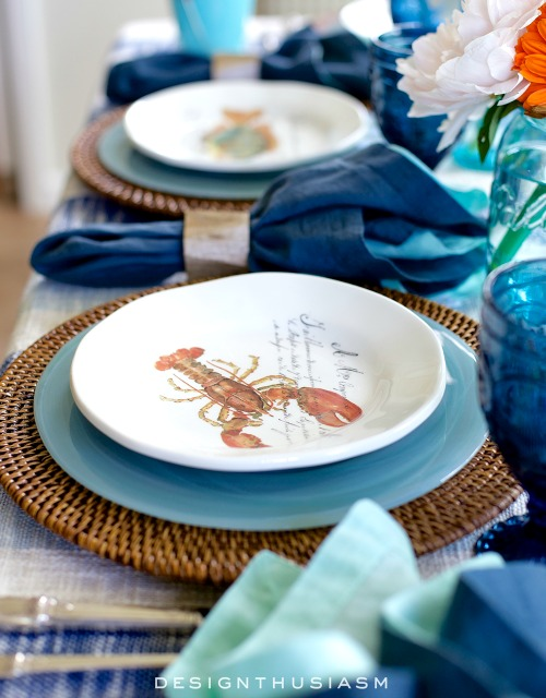 The gorgeous plate stack starts with Rattan Chargers from Pier 1u0027s Charger Collection followed by Turquoise Alabaster Dinnerware from Pier 1u0027s Dinnerware ... & Nautical Table Decor with Blue Dishes u0026 Sea Life Plates | Shop the ...