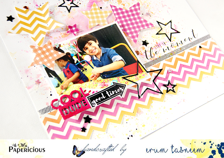 A colourful, starry layout by Erum Tasneem using Papericious chippies and Back to Basics papers | @pr0digy0