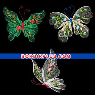 Desain bordir komputer motif kupu-kupu