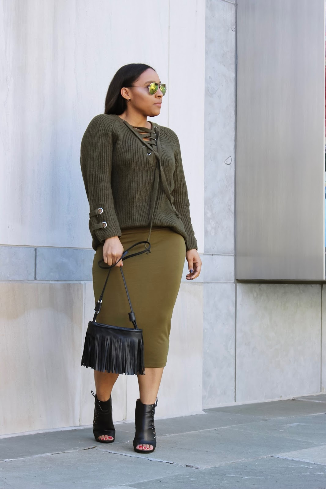 A Lace-Up Sweater Outfit Idea by Patty's Kloset, fringe purse, mirrored sunglasses, olive skirt, midi skirt, dominican blogger, spring outfits, how to monochrome, open toe booties