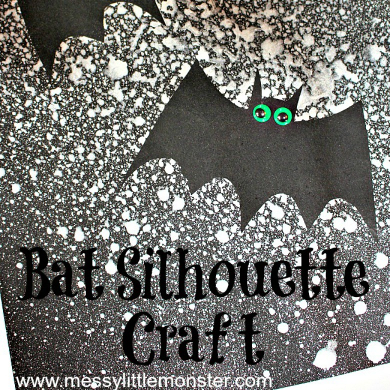 Bat Silhouette craft - Halloween bat crafts for kids